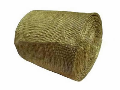 The picture shows a roll of brass knitted wire mesh.