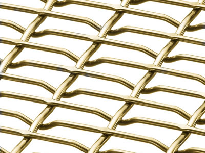 This is a piece of brass flat top crimped wire mesh.