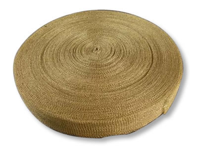The picture shows a roll of brass knitted wire mesh with narrow width.