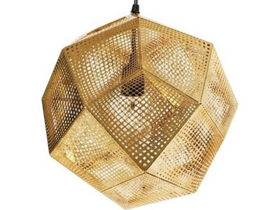 The picture shows that a brass perforated mesh polyhedron contains the lamp.