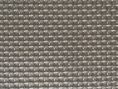 A piece of window screen made from stainless steel 304 wire, 0.55 mm wire diameter and 14 mesh.