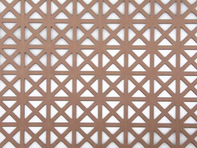 The picture shows a piece of triangle copper perforated mesh.